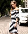 New Summer Striped Print Dress Fashion Women Off the Shoulder Half Sleeve Mini Bodycon Sexy Dress