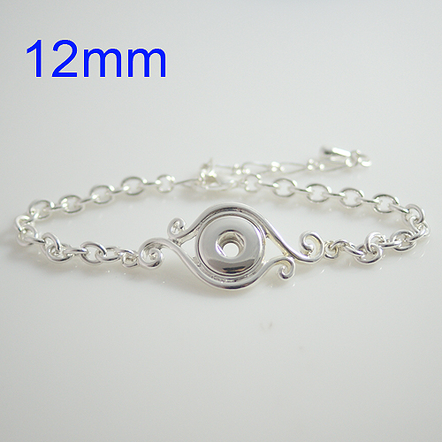 product HOT sale high quality 23CM  silver button bracelet fit ginger 12mm snap button from www partnerbeads com KB0422-S