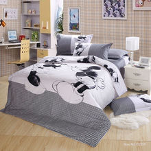 100%Cotton 4pc bed linen mickey and minnie kids mouse bedding sets with duvet cover set flat sheet king/twin/queen size(China (Mainland))