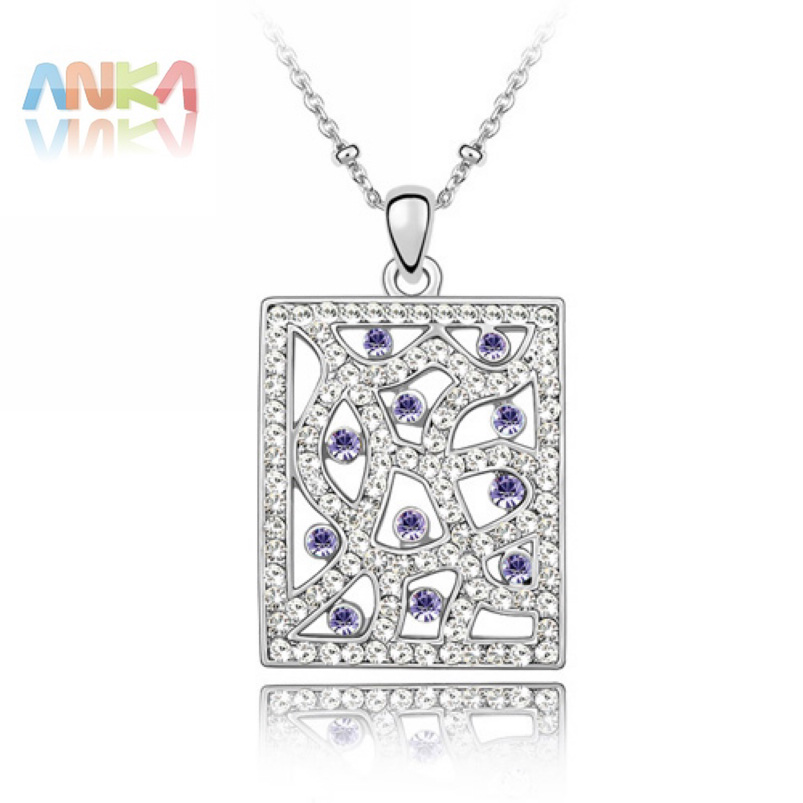 2016 Colar Accessories Shipping Crystal Jewelry For Windows Pendant Mix Colorful Rectangle Necklace #84141(China (Mainland))