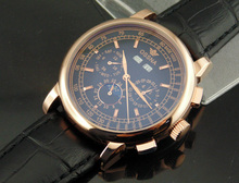 Ossna 42mm Moon Phase Rose Gold WATCH Automatic Movement for Men Black Dial 1607(China (Mainland))