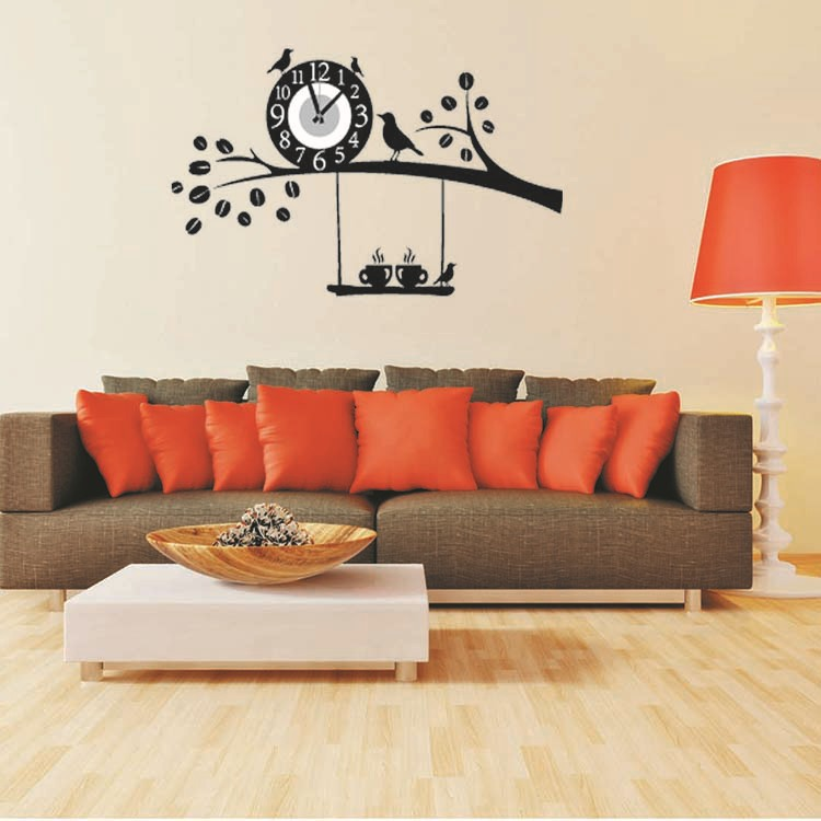 2015 Removable diy clock wall stickers home decor black ...