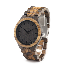 BOBO BIRD D30 Unique Gradient Zebra Wood Wristwatch Men's Japan Movement Quartz Watch Classic Folding Clasp with Wooden Band