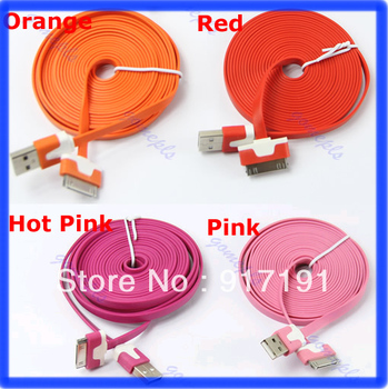 Free Shipping 3m Flat Charging Cord USB Data Sync Cable For Apple iPhone 4 4S 3GS 3G for  iPod Nano