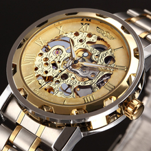 WINNER Golden Men Skeleton Mechanical Watch Stainess Steel Steel Hand Wind Watches Transparent Steampunk Montre Homme Wristwatch