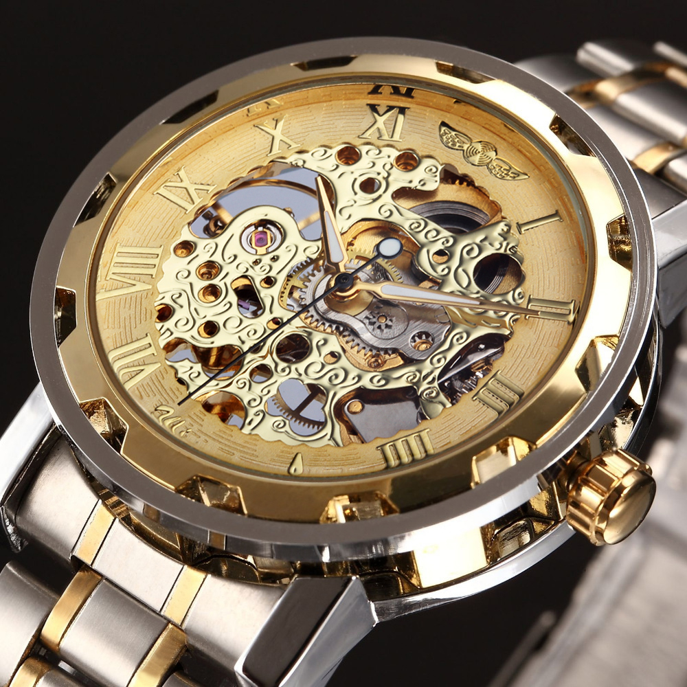 WINNER Golden Men Skeleton Mechanical Watch Stainess Steel Steel Hand Wind Watches Transparent Steampunk Montre Homme Wristwatch(China (Mainland))