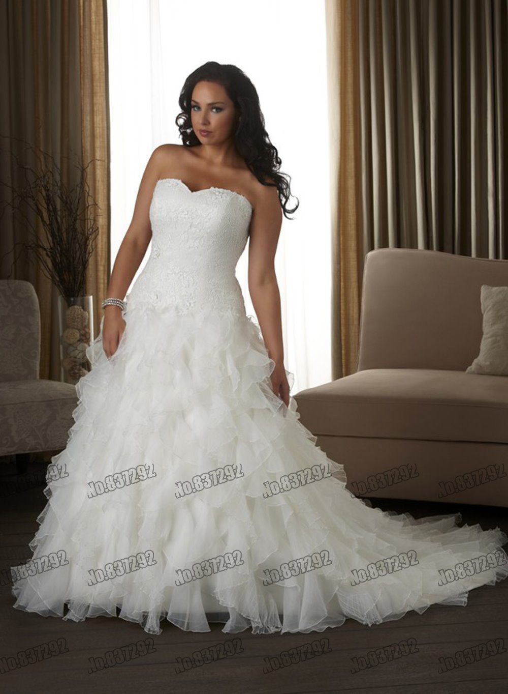 Hot Sale White Chiffon Plus Size Wedding Dresses 2015