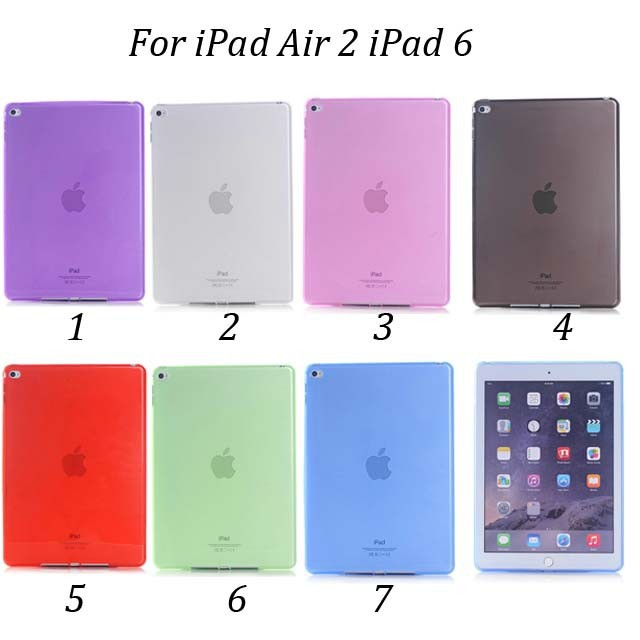 30pcs/lot Free Shipping Candy Color Inner Matte Soft TPU Jelly Case For iPad Air 2 iPad 6<br><br>Aliexpress