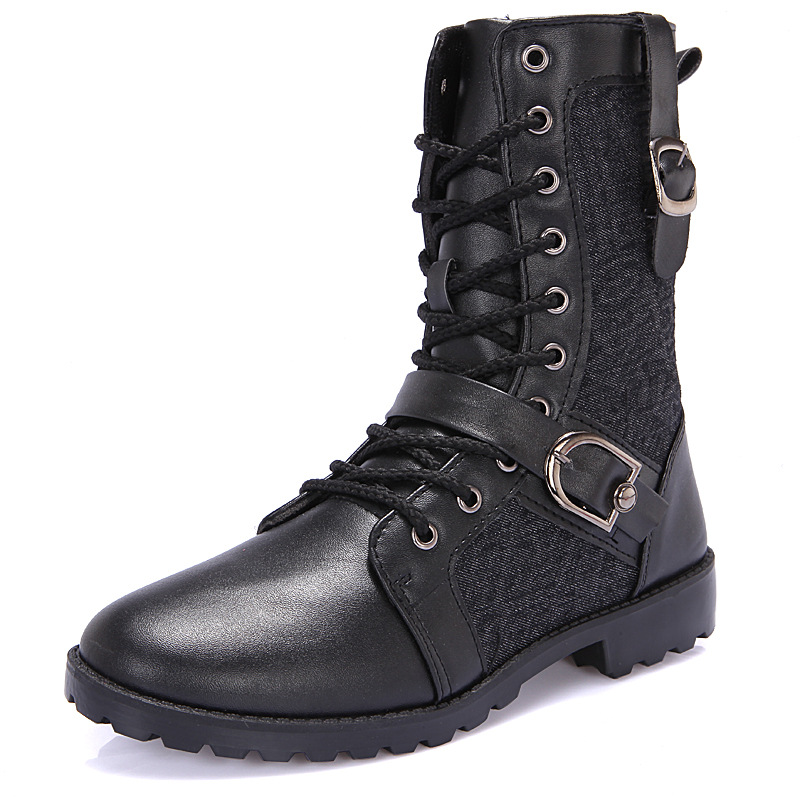 2016 Men Boots Winter Fur Leather Riding, Equestrian Black Short Plush Zapatos Army High Zip Man Military Boot Shop Cheap Sale(China (Mainland))