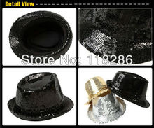 Free Shipping adult sequins fedora hat cap headgear for party supplies stage performing paillette party hat