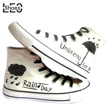 LEO Adult Men Women Graffiti Hand Painted Canvas Shoes High Top Style Rain Day Umbrella for Your Pattern Unisex Couples Shoes(China (Mainland))