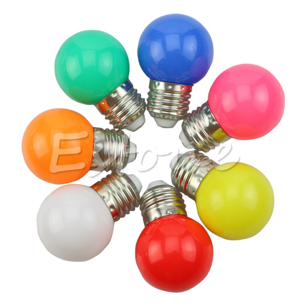 1W E27 Coloured Round LED Golf Ball Light Bulb Lamp NEW