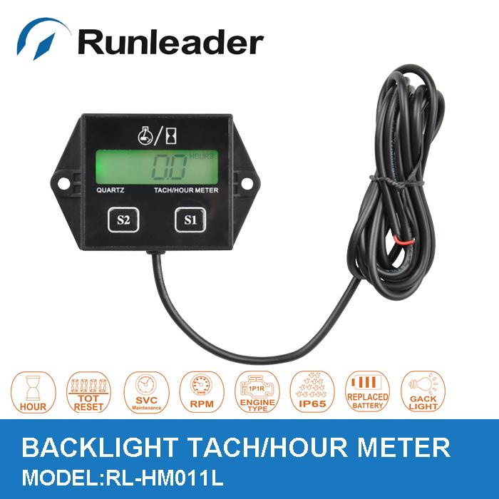 Free shipping Big LCD backlight waterproof tachometer hour meter RPM meter for gas engine motorboat jet ski ATV generator(China (Mainland))