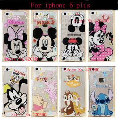 Soft TPU Transparent Clear Mickey Minnie Mouse Stitch Pooh Toy Cartoon case cover For iPhone 6 Plus cell phone cases(China (Mainland))