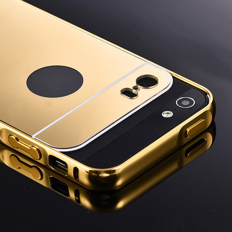 For Apple iPhone 5S 5 iPhone5S Gold Color Matel Frame Mirror Back Plate Luxury Case New Brand Phone Bag Cover(China (Mainland))