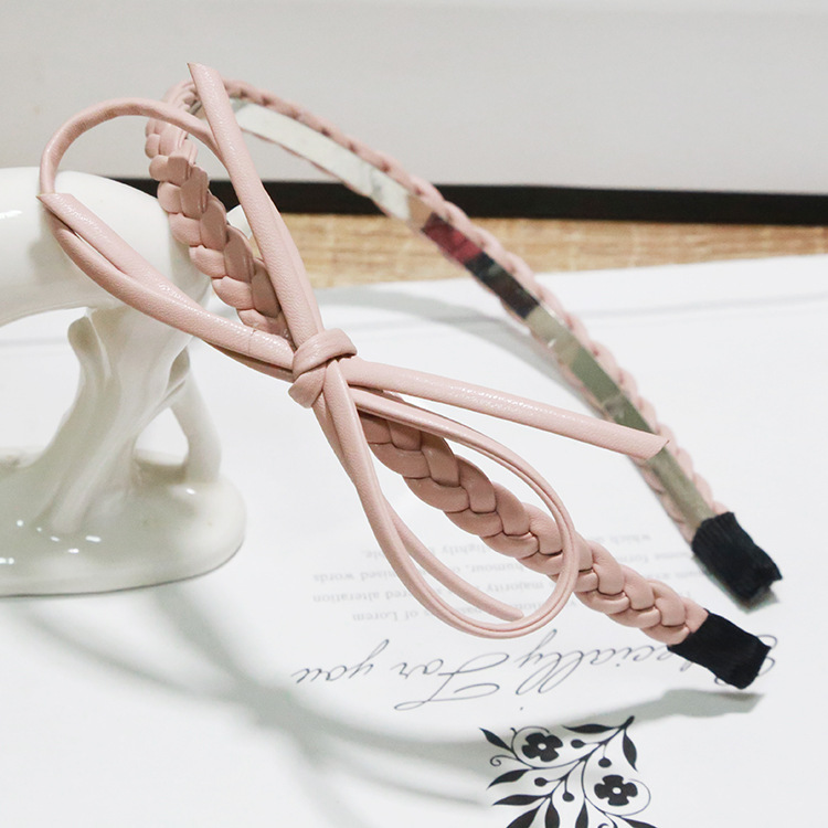 Retail 2016 New Girls Fashion Pu Bow Stripe Woolen Cloth Headband Hairband Elegant Hair Bands Holder Hoop Hair Accessories(China (Mainland))
