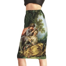 New S To 4XL European And American Style Green Midi Skirt Mom Daughter Printing Fashion Women Pencil Skirt(China (Mainland))