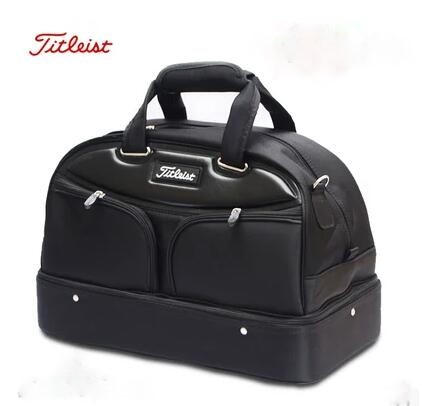 Golf bags High quality PU Golf bag men's double layer clothes bag breathable independent shoe bag golf equipment Free shipping(China (Mainland))