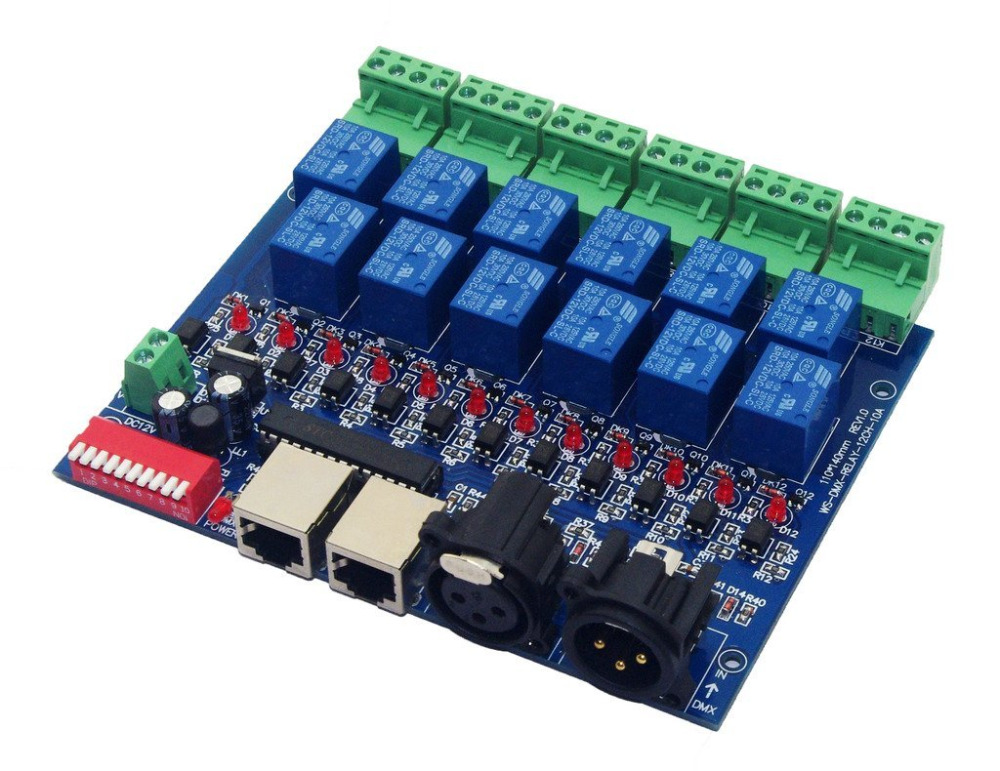 12 Channel 10A DMX512 Controller Relay Switch Converter DMX Dimmer 12CH Relay Control(China (Mainland))