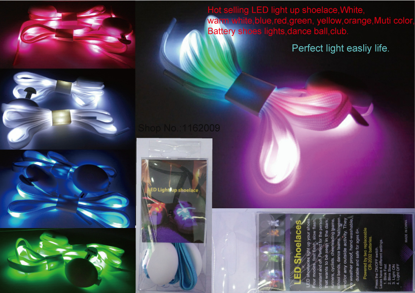 LED light up shoelace White warm white,blue red green yellow orange Muti color,Battery on/off shoes lights flashing dance ball(China (Mainland))