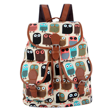 Exclusive New 2016 Handmade Printing Canvas Owl Backpack Mochila Feminina Vintage Bagpack School Bags for Teenager Factory Sale(China (Mainland))
