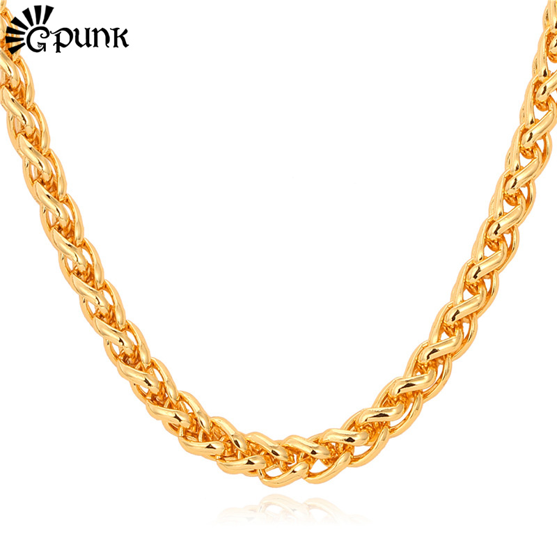 Customized Size 5mm Wheat Spiga Men Chain Necklace Wholesale 18K Gold/Platinum/Rose Gold Plated Gift Men Punk Rock Style N751G(China (Mainland))