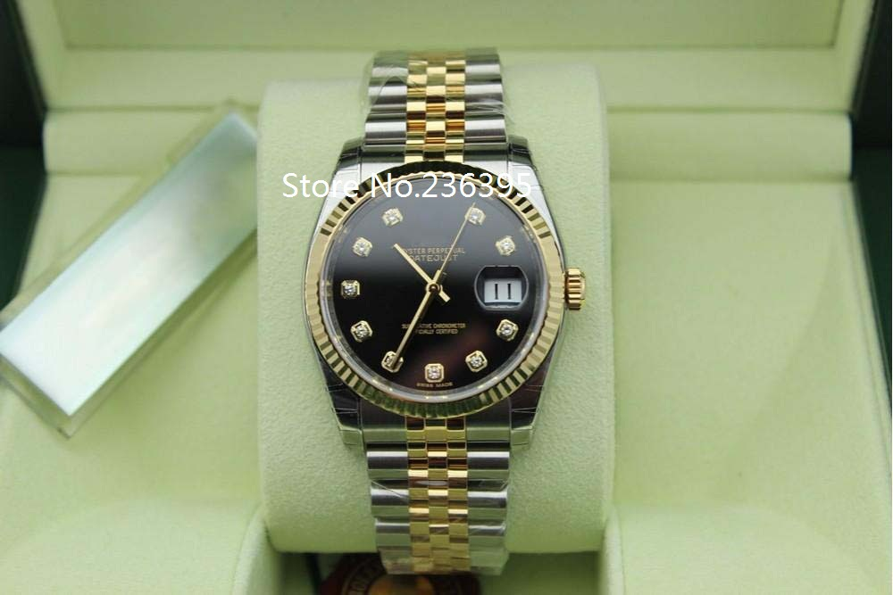 Roles watch Men s 36mm watch Top quality Luxury Sapphire Datejust 116234 Black Dial Stainless Steel