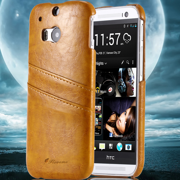 For HTC M8 Grease Glazed Leather Hard Back Cover For HTC One M8 With Card Holder Luxury Phone Cover Retro With Fashion M8(China (Mainland))