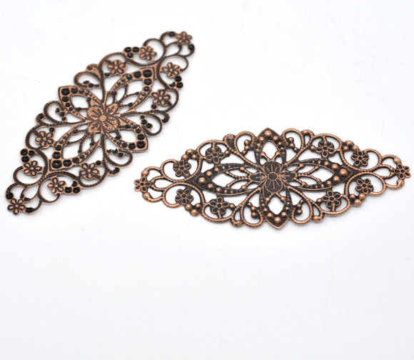 Free Shipping 50 Copper Tone Filigree Flower Wraps Connector 8x3.5cm B0001