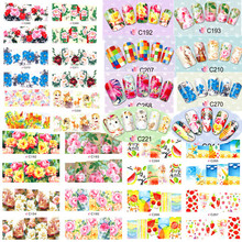 100 sheets Colorful Floral Nail Art Water Transfer Stickers Nails Decal Tips Beauty Decoration Full Wraps Nail Tools C180-275