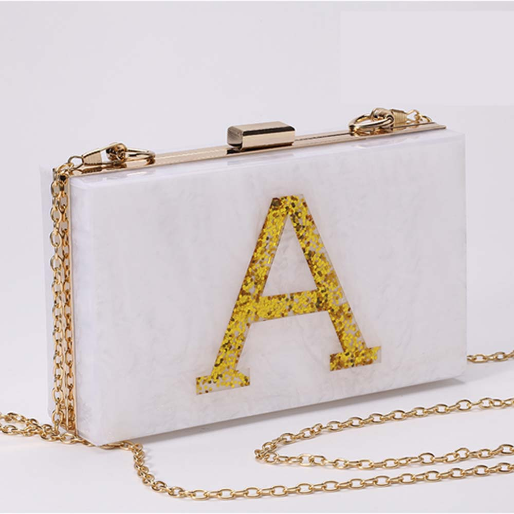 2016 Autumn New EuropeanStyle Fashion Ladies Bag Dinner Acrylic Letters Clutch White Color Messenger Bag Evening Bag(China (Mainland))