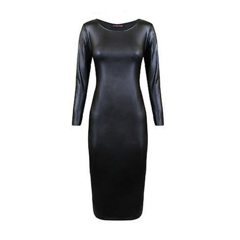 Гаджет  Women Faux Leather Midi Party Dress Sexy Bodycon Long Sleeve Evening Clubwear None Одежда и аксессуары