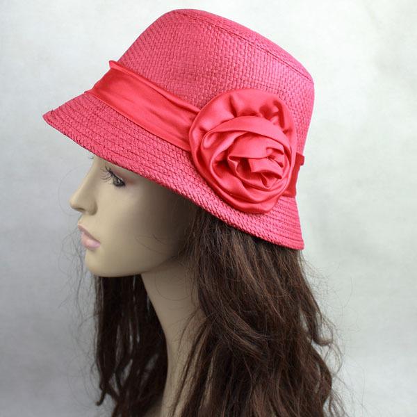 Wholesaler Rose small dome fedoras,Fashion straw braid hat, sun-shading summer hat(China (Mainland))