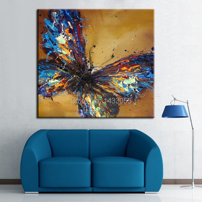 Handmade Abstract Adorable Blue Butterfly Art Oil Painting