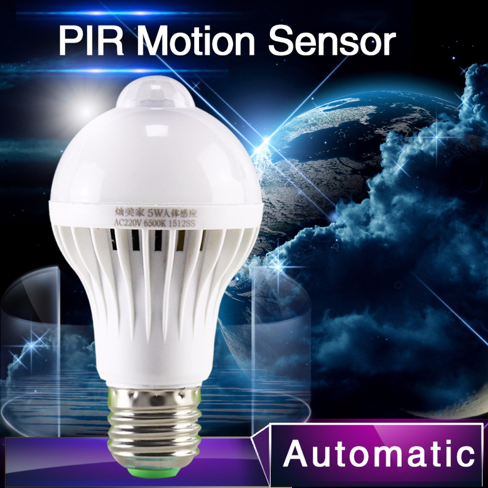 1pcs PIR Motion Sensor Lamp 5w Led E27 Bulb 7w 9w Auto Smart Led PIR Infrared Body Lamp With The Motion Sensor Lights(China (Mainland))
