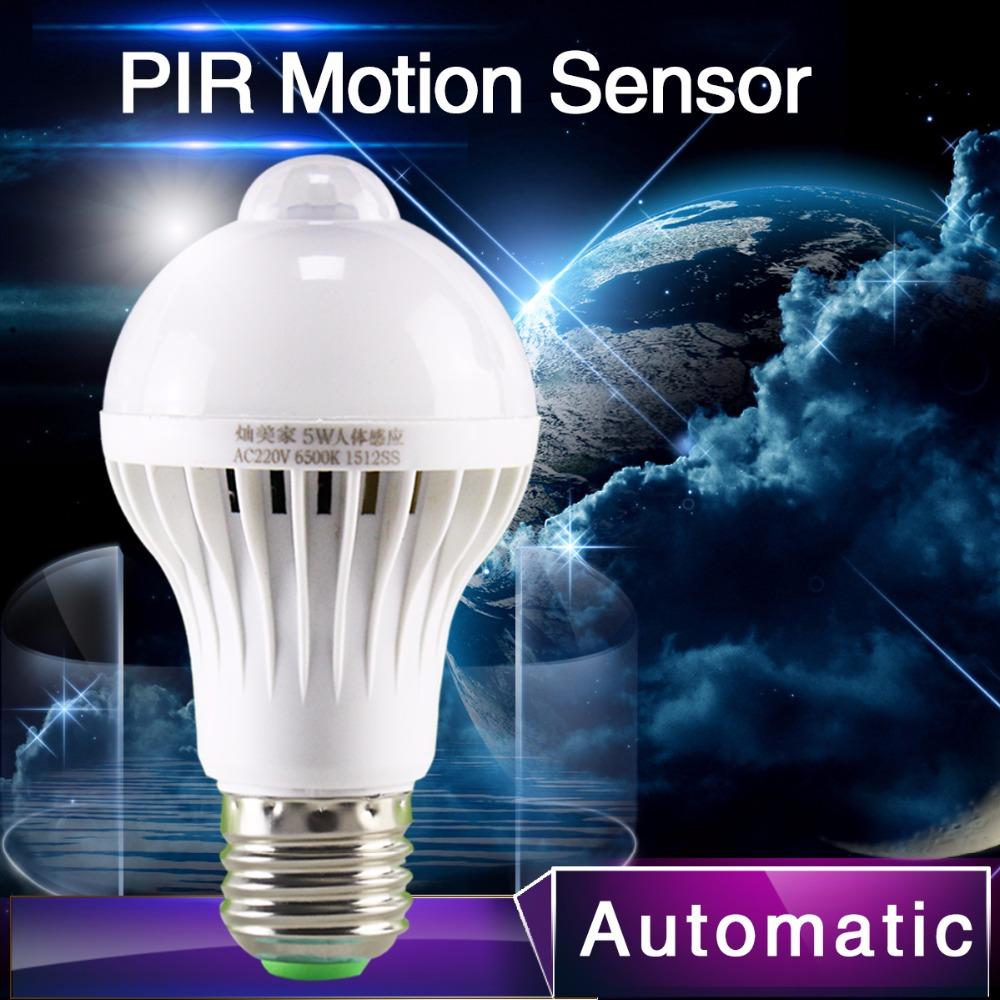 1pcs PIR Motion Sensor Lamp 5w Led E27 Bulb 7w 9w Auto Smart Led PIR Infrared Body Lamp With The Motion Sensor Lights(China (Mainland))