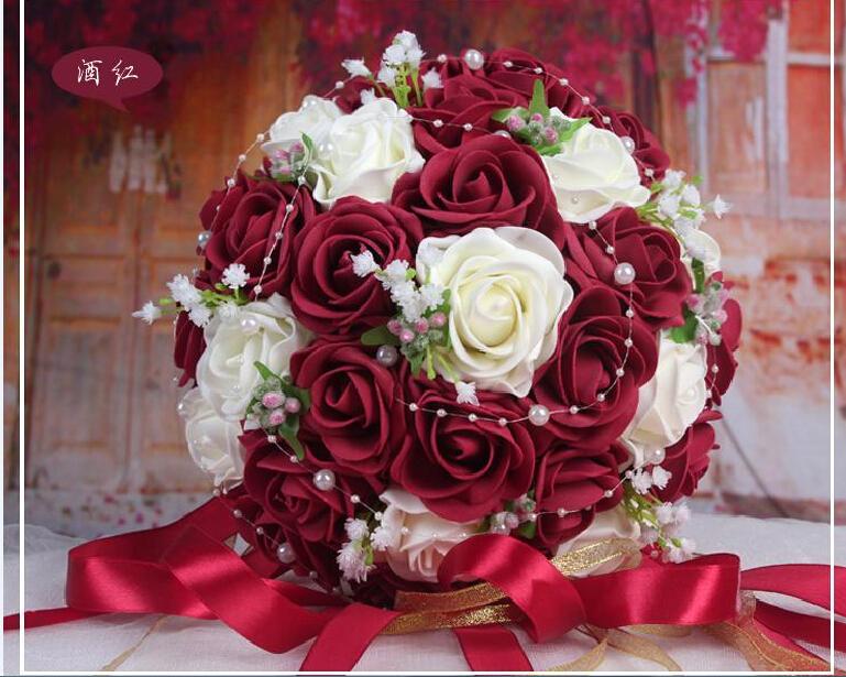 2016 cheap 8 colors choice wedding bouquet pink red white for Prix bouquet de fleurs