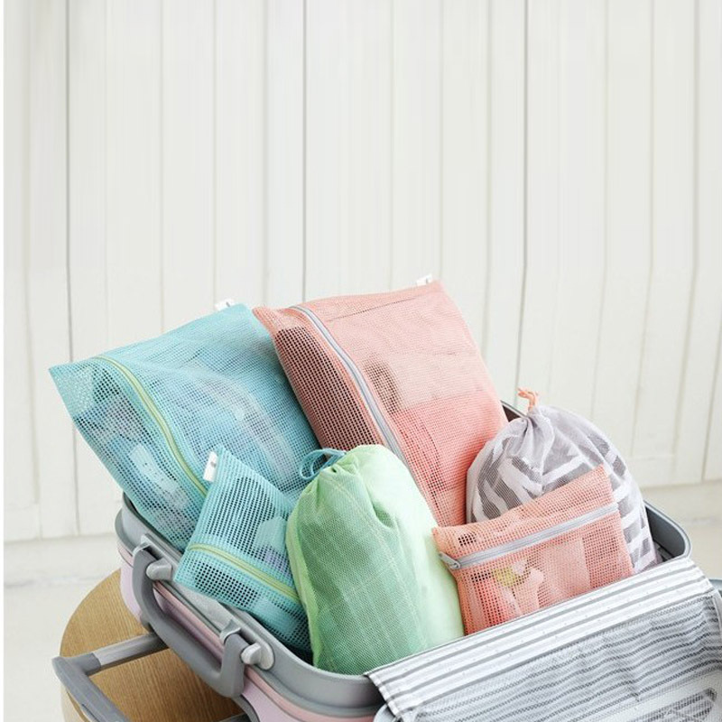 Good Quality 4 Pieces/set Travel Clothing Bag Classification Pouch Breathable Mesh Organizer Storage Bag Home Item Bulk Cheap(China (Mainland))