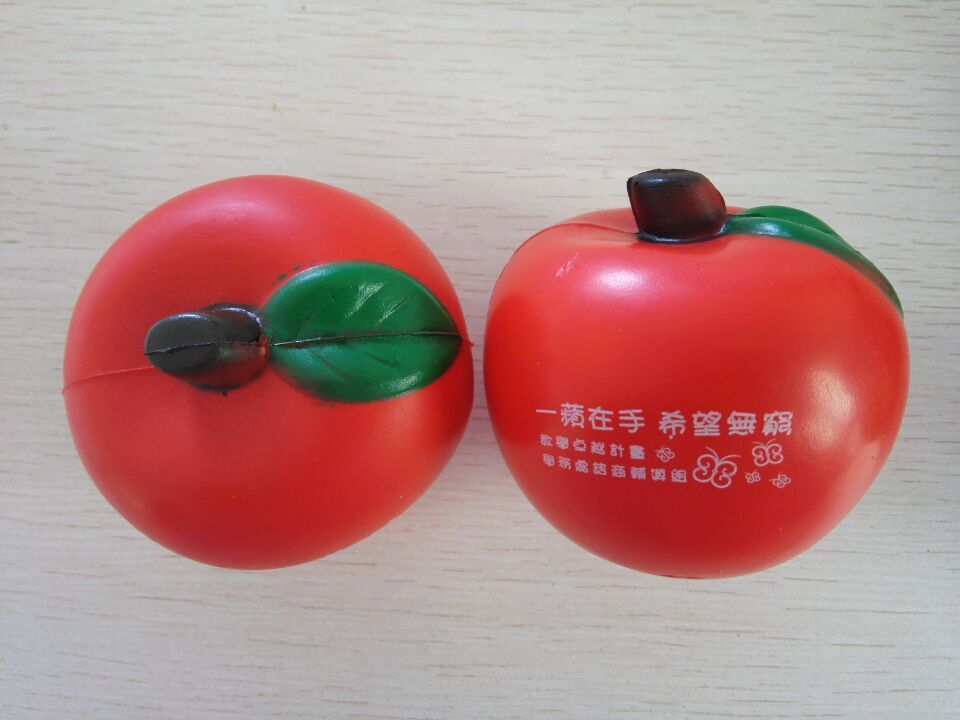 7cm dia OEM pu foam material pu apple stressball,apple toy,promotion gifts,in printing your logo 50pcs/lot(China (Mainland))