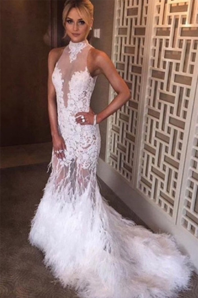 White tulle lace high neck backless feathers sexy mermaid for Mermaid wedding dresses with feather bottom