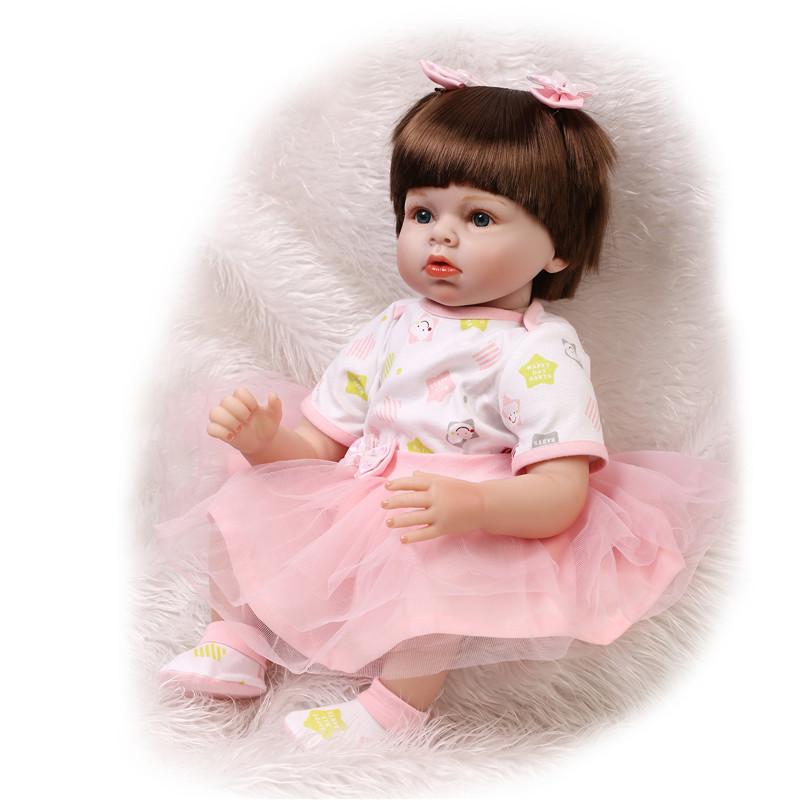 Фотография New Arrive Fashion Doll Realistic 22Inch 55cm Silicone Baby Reborns Doll Toys For Girl Real NPK Handmade Babies Newborn For Sale