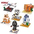 MTELE Brand Star Wars Figures BB8 X Wing Starfighter R2 D2 Rey s Speeder Darth Vader