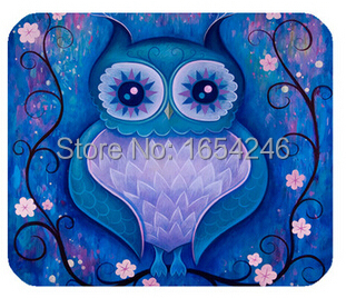 Anti Fraying Retail Hot Sell New Size Gaming Necessary Mouse Mat Blue Owl Rectangle Non-Skid Rubber Pad(China (Mainland))