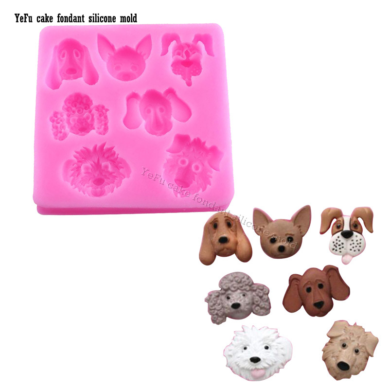 3D dog hound pooch Fondant Cake Decorating Tools Baking Mold Cartoon Forest Animals Figure Clay/rubber silicone mold T-869(China (Mainland))