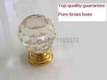 D40mm HOT SELLING pure copper base knob crystal glass knobs for kitchen cabinet dresser drawer(China (Mainland))