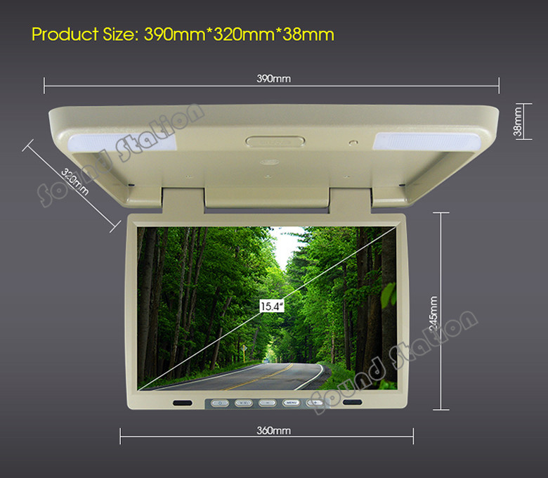 15.4 '' Inch HD Automotivo Auto Mobile Car Flip Down Overhead Ceiling TFT LCD Monitor Coach Truck Bus AD Roof Mount Player(China (Mainland))