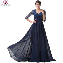 Elegant Long Evening Dress Grace Karin Chiffon Lace Half Sleeve Navy Blue Mother Of The Bride Dresses Party Formal Gowns CL6234(China (Mainland))