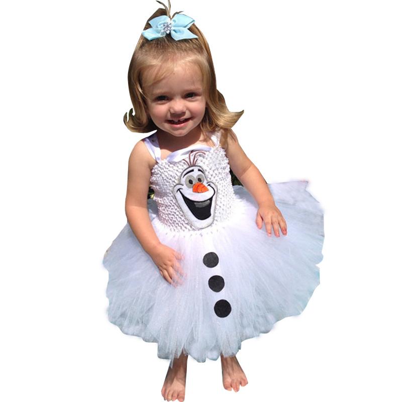 Olaf Tutu dress for little girls Kids Fancy dress Halloween carnival party costume casual dress baby girls dress(China (Mainland))