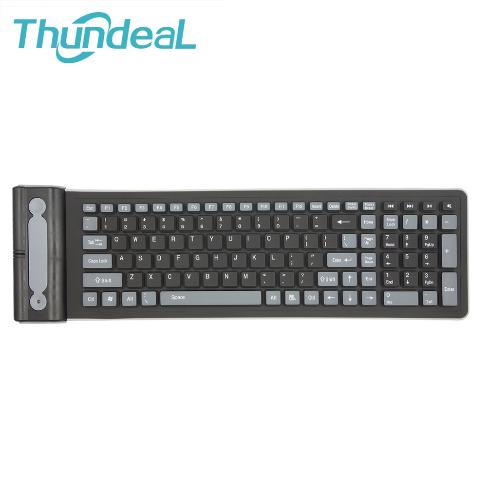 2.4G Wireless Keyboard Folding Russian&English Letter 107Key Silicone Rubber Waterproof Flexible Foldable Keyboard PC Projector(China (Mainland))