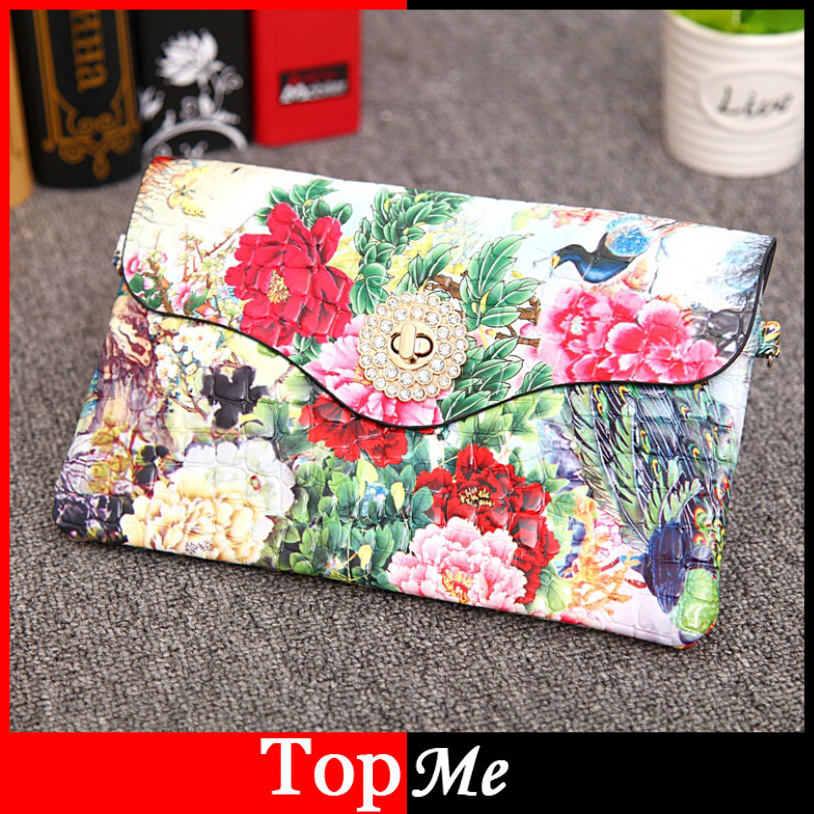 Hot Sale Women Flower Envelope Messenger Bag Cross Body Shoulder Bags Lady Handbags Fashion Girls Keys Phone Purse Leather Bag(China (Mainland))